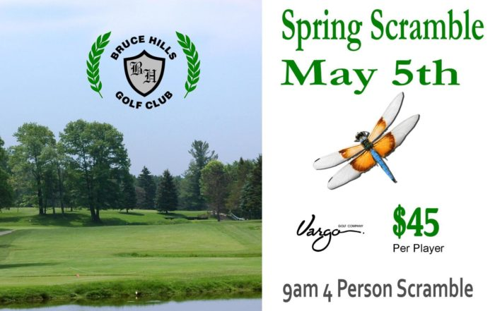 Spring Scramble May 5th at Bruce Hills Golf Course in Roemo