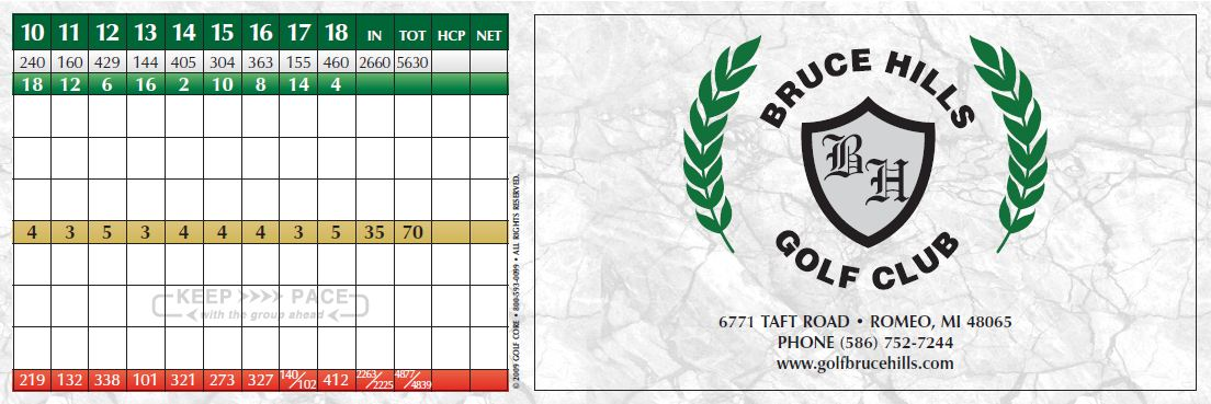 Bruce Hills Golf Course Scorecard
